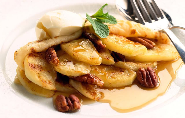 Bramley and Maple Syrup Pancakes